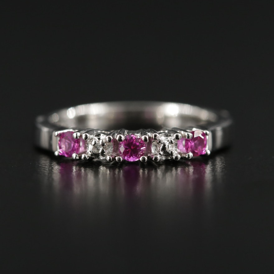 Sterling Silver Synthetic Ruby and Diamond Ring