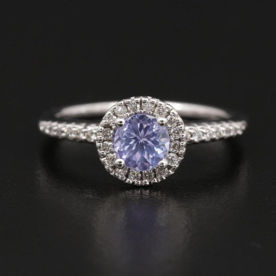 14K Gold Tanzanite and Diamond Ring