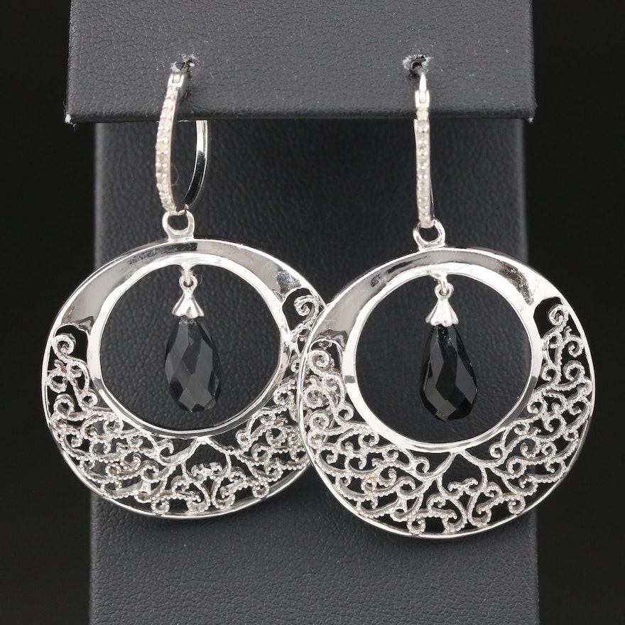 Sterling Silver Black Onyx and Diamond Dangle Earrings