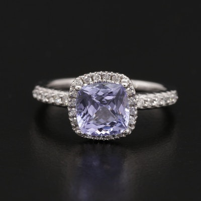 14K Gold 1.25 CT Tanzanite and Diamond Ring
