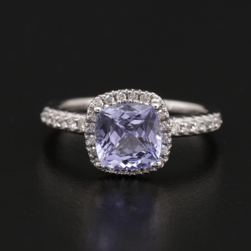 14K Gold 1.25 CT Tanzanite and Diamond Ring