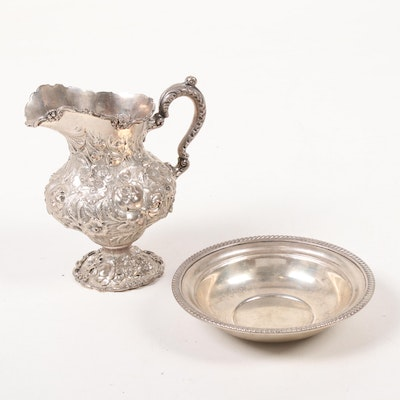 Steiff Sterling Silver Repoussé Pitcher and Gorham Bowl