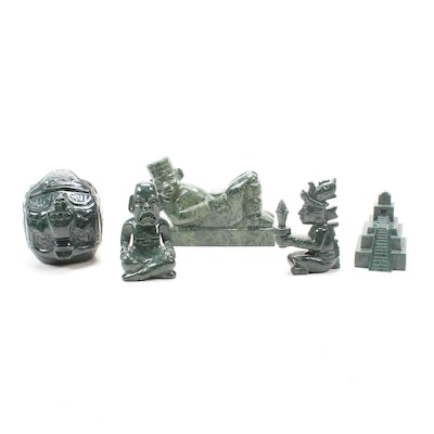Guatemalan Mayan Style Carved Jade Figurines
