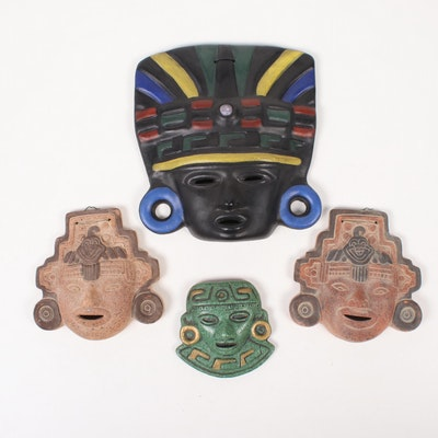 Central American Mayan Style Ceramic Masks