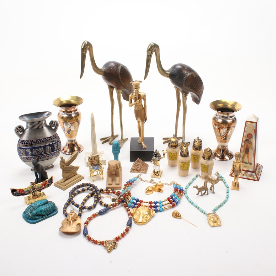 Egyptian Style MMA Jewelry, Vases, and Figurines