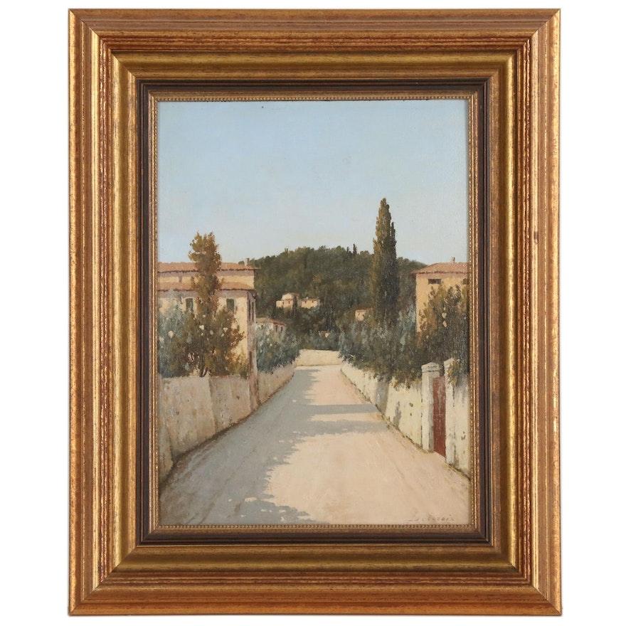 """Giacomo Delcroix Oil Painting """"Firenze"""", Mid-20th Century"""