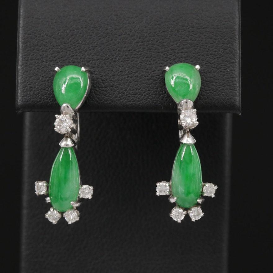 14K Gold Jadeite and Diamond Drop Earrings