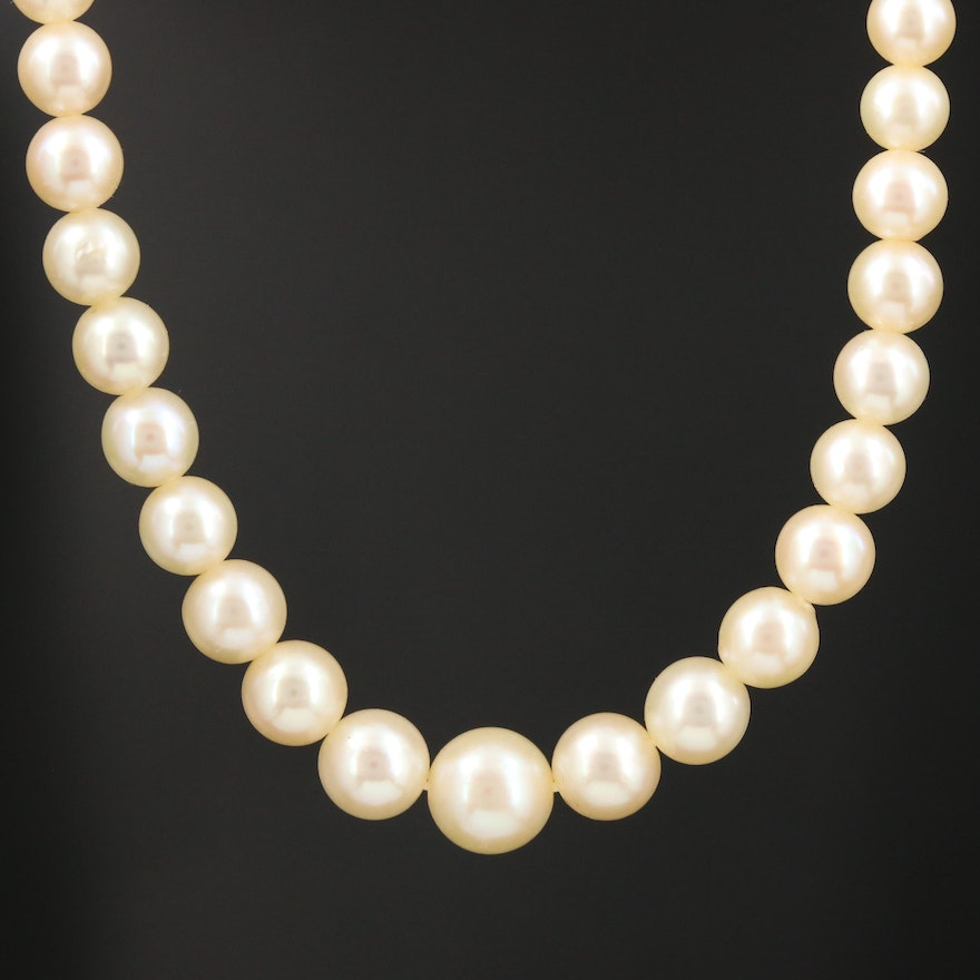 Cultured Pearl Strand Necklace with 10K White Gold Clasp