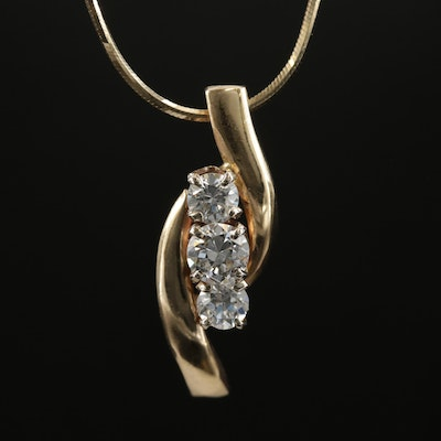 14K Yellow Gold 0.80 CTW Diamond Pendant Necklace