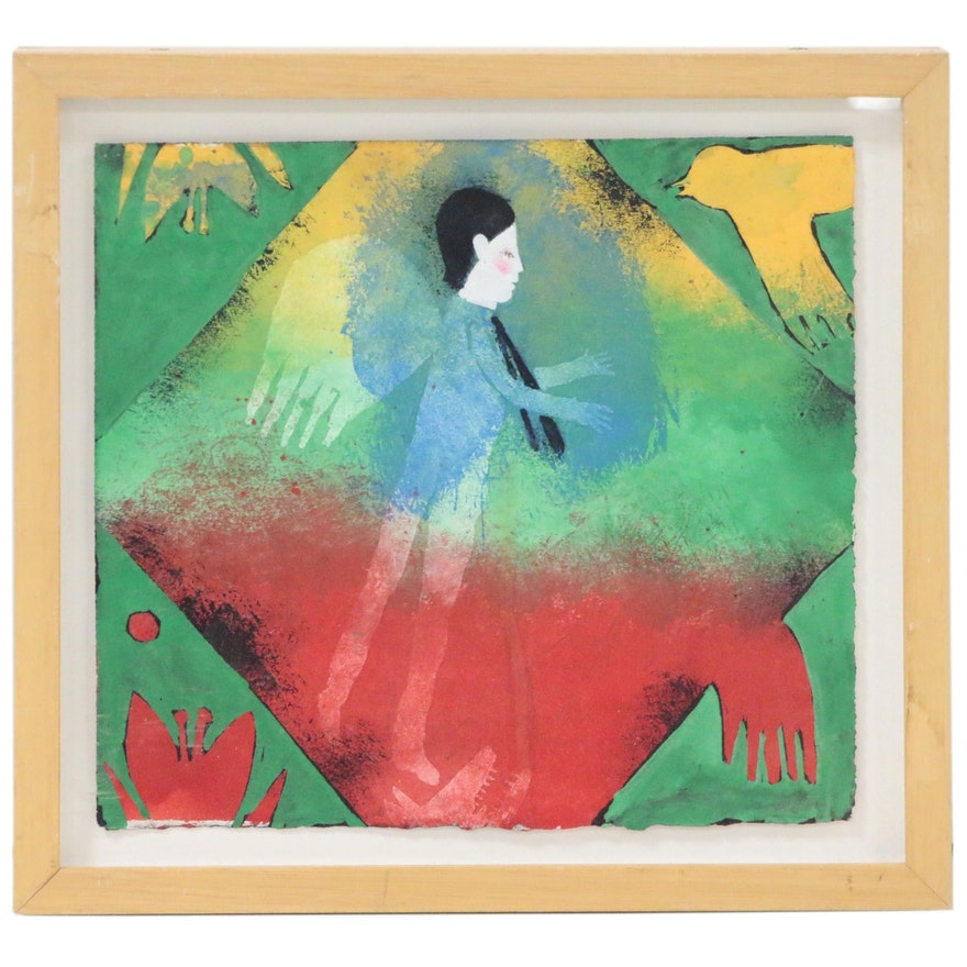 Modern Figural Acrylic Painting, Late 20th Century