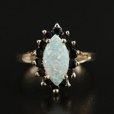 14K Synthetic Opal and Blue Sapphire Navette Ring