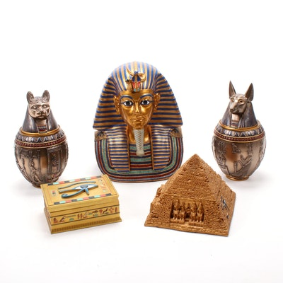 Egyptian Style Canopic Jars and Decor