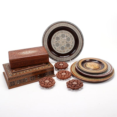 Indian Bone Inlay Boxes, Plates, and Coasters
