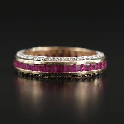 14K Yellow Gold Synthetic Ruby and Diamond Band