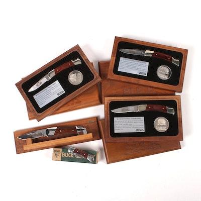 Five Buck Folding Knives in Wooden Cases