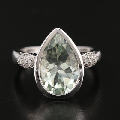 Sterling Silver Prasiolite and Diamond Ring