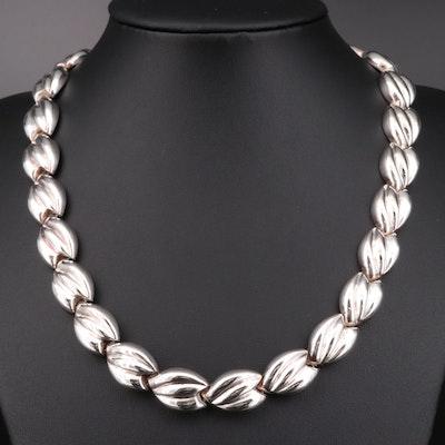 Milor Italian Sterling Silver Fluted Link Necklace