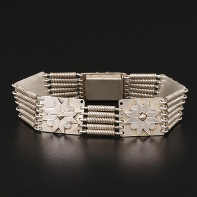 900 Silver Floral Panel Bracelet