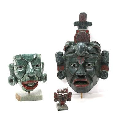 Guatemalan Mayan-Style Jade Mask Figurines