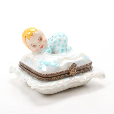 French Hand-Painted Porcelain Baby on Pillow Limoges Box
