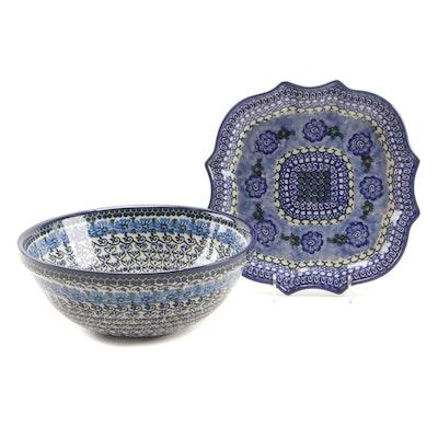 Polish Ceramika Artystyczna Stoneware Serving Bowl and Platter