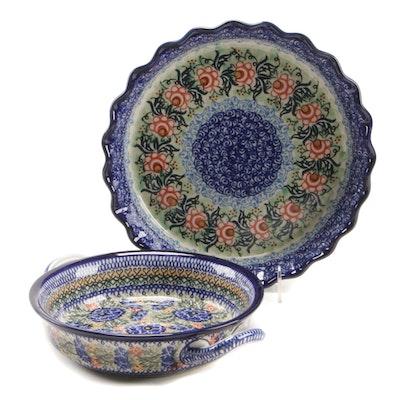 Polish Ceramika Artystyczna Stoneware Pie Plate and Casserole Dish