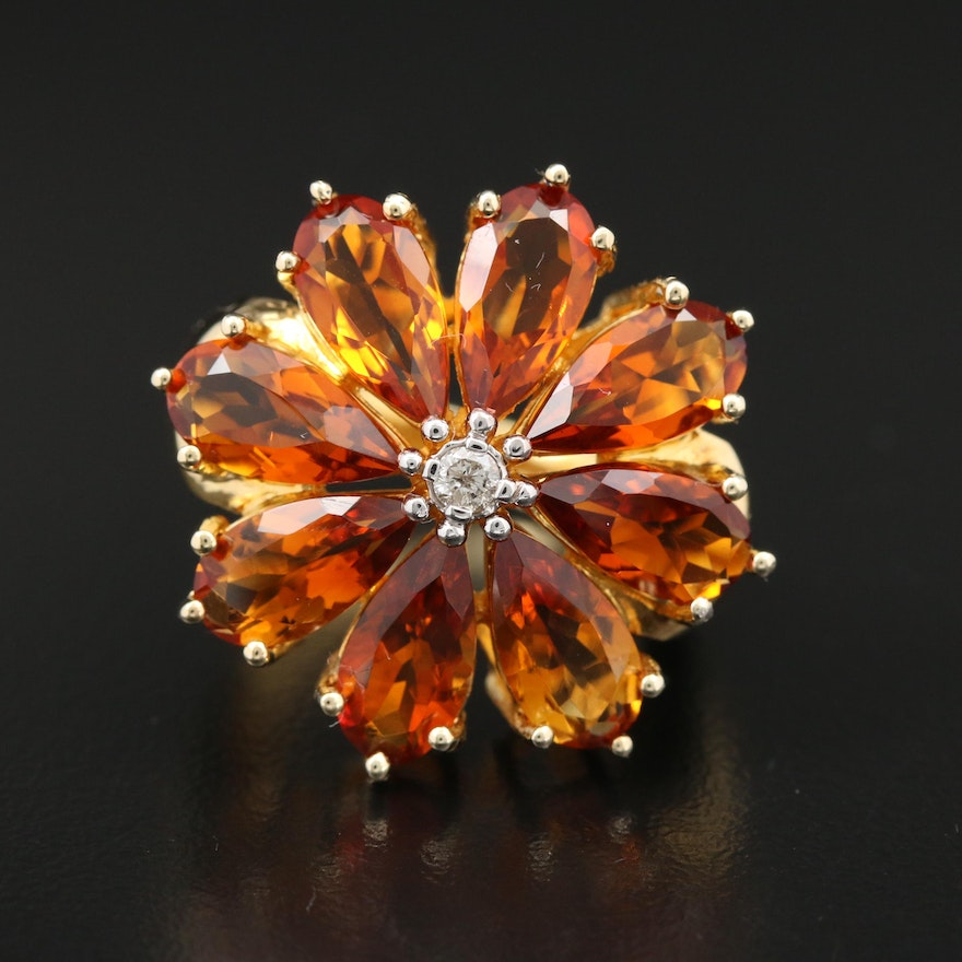 Sterling Silver Diamond and Citrine Floral Ring