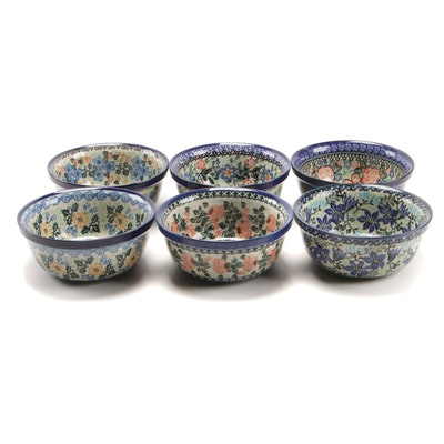Polish Ceramika Artystyczna Hand-Painted Stoneware Cereal Bowls