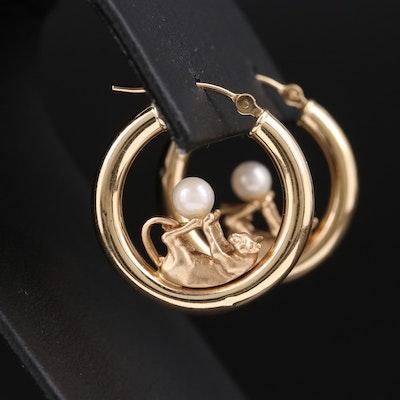 14K Playful Feline Hoop Earrings with Pearl Accents