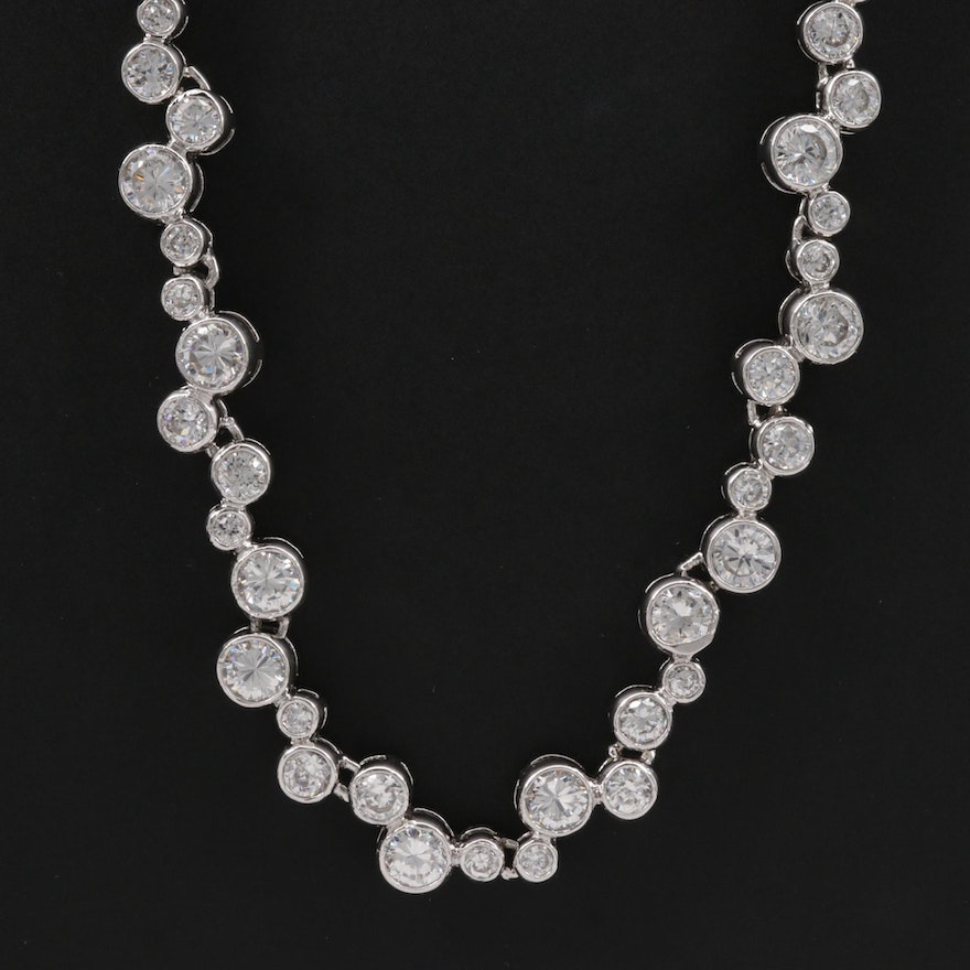 Sterling Silver Cubic Zirconia Bubble Necklace