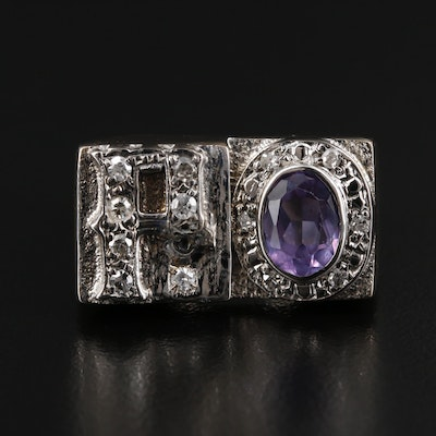 14K Gold Synthetic Color Change Sapphire and Diamond Asymmetrical Ring