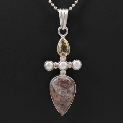 Sterling Silver Ocean Jasper, Citrine and Cultured Pearl Pendant Necklace