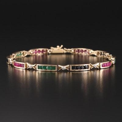 14K Diamond, Ruby, Sapphire and Emerald Bracelet