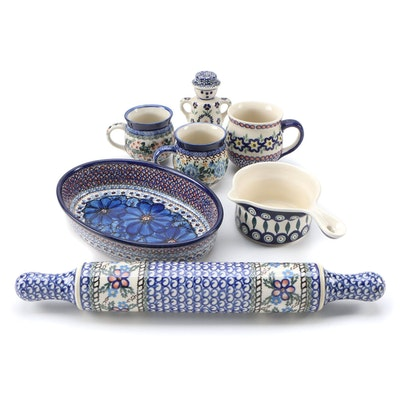 Polish Earthenware Rolling Pin, Mugs, Baking Dish and Other Table Accessories