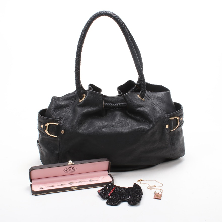 Cole Haan Black Leather Handbag with Lenora Dame and Juicy Couture Jewelry