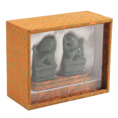 Chinese Carved Nephrite Guardian Lions with Presentation Case