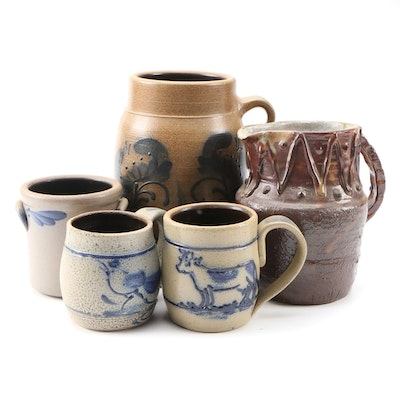 Stoneware Jar, Crock, Pitcher and Mugs