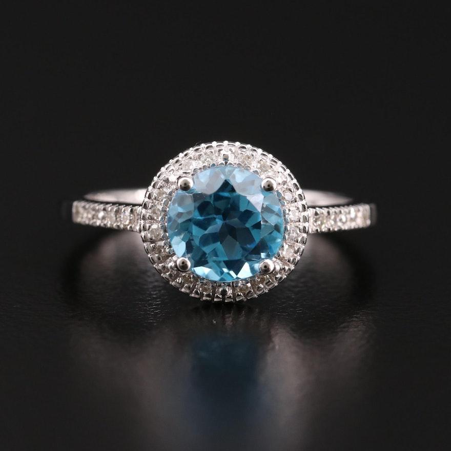14K Gold Topaz and Diamond Ring