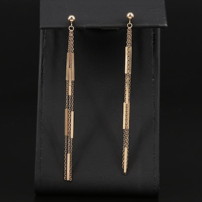 14K Cable and Bar Dangle Earrings