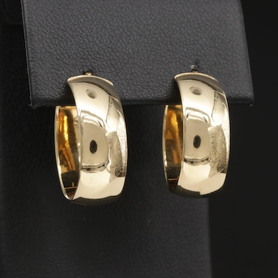 18K Gold Oval Hoop Earrings