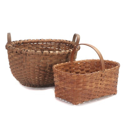 Split Wood and Reed Woven Baskets