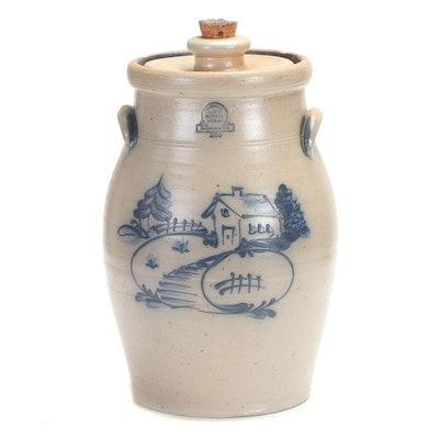 Rowe Pottery Works Salt Glazed Stoneware Beverage Crock, 1988