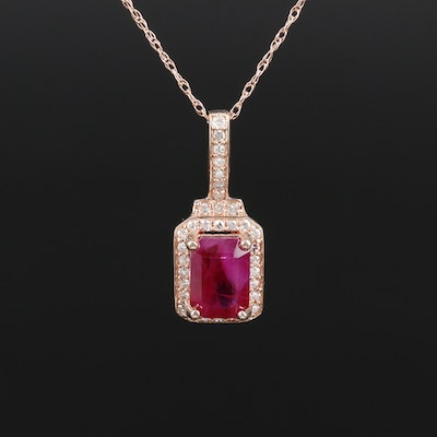10K Gold Ruby and Diamond Pendant Necklace