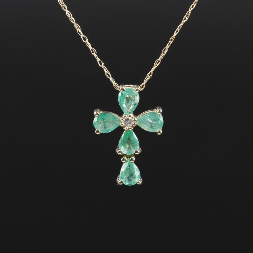 14K Gold Emerald and Diamond Cross Necklace