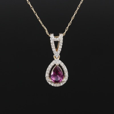 14K Rhodolite Garnet and Diamond Pendant Necklace