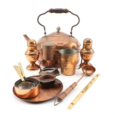 Rome Tea Kettle with Copper Measuring Cups, Salt and Pepper Shakers, and More