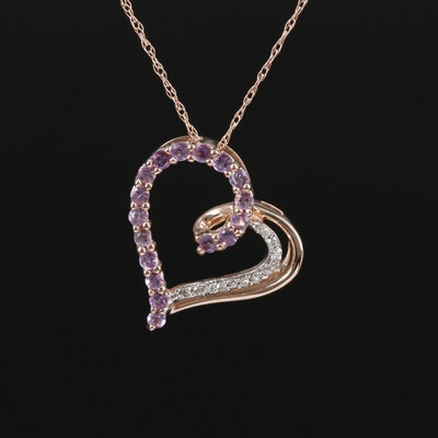 14K Rose Gold Amethyst and Diamond Heart Pendant Necklace