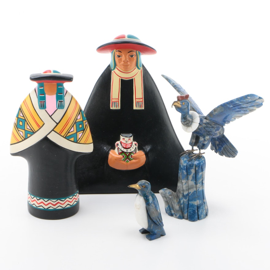 Peruvian Ceramic Figurines with Carved Stone Penguin and Eagle Figurines