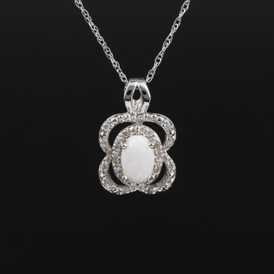 14K Gold Opal and Diamond Pendant Necklace