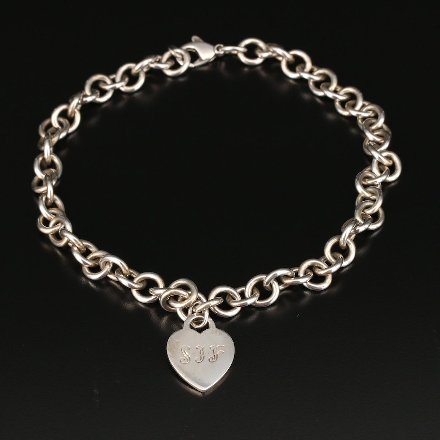 Tiffany & Co. Sterling Rolo Chain Link Necklace with Heart Charm